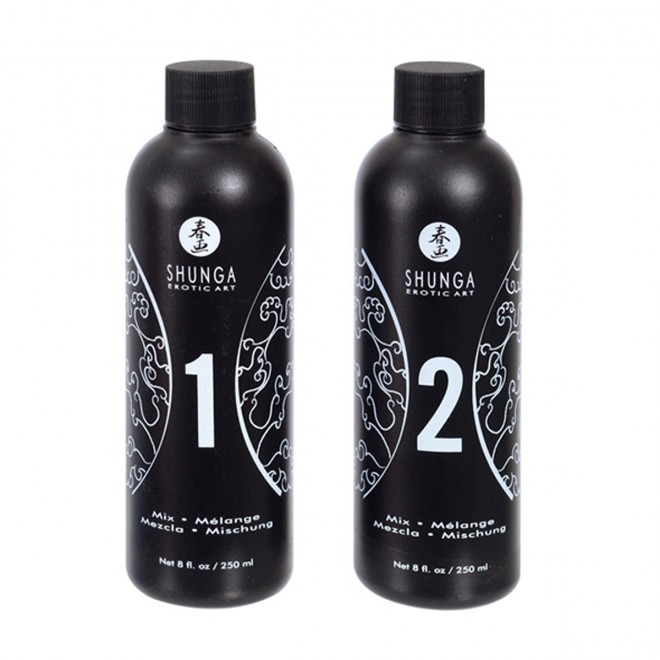 Gel za masažo Shunga Strawberry & Champagne, 2 x 250 ml