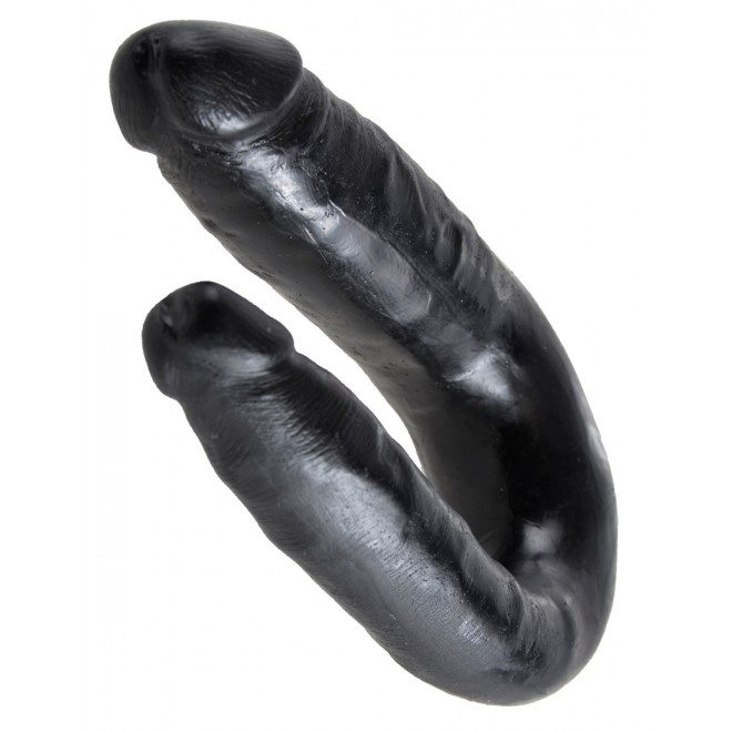 Dildo King Cock Small Double Trouble, črn