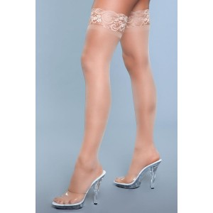 Lace Over It Hold-Up Stockings - Nude