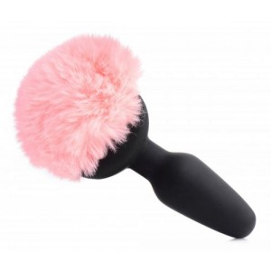 Vibrating Anal Plug With Bunny Tail - Pink