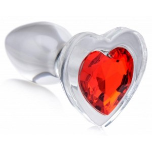 Red Heart Glass Anal Plug With Gem - Small