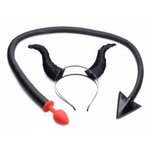 Devil Tail Anal Plug And Horn Set