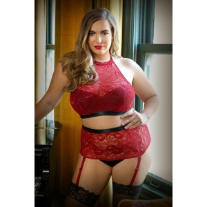 Aria Crotchless Suspender Set - Red