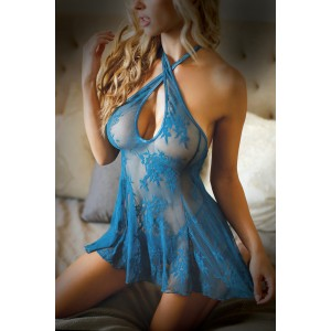 Lace Halter Neck Dress - Blue