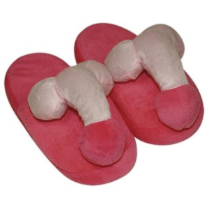 Pink-coloured penis slippers