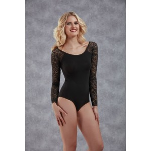 Body With Long Lace Sleeves - Black