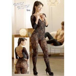 Catsuit made of black floral lace