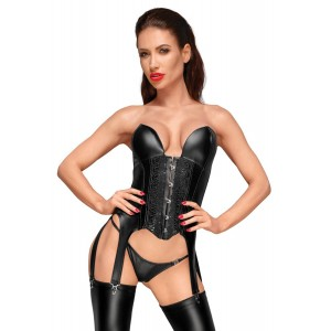 Wetlook Suspender Corsage With Embroidery