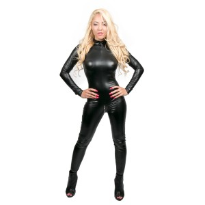 Wetlook Catsuit With Long Sleeves