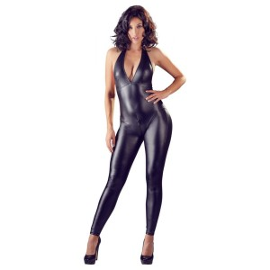 Crotchless Sexy Wetlook Catsuit