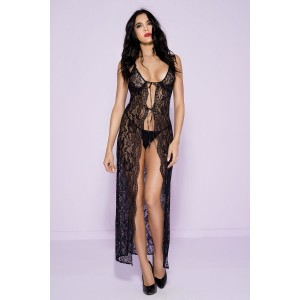 Long Lace Gown With Tying Strings