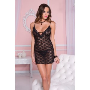 Lace dress with back criss cross details BLACK