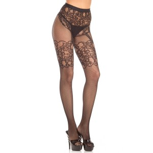 Fishnet Pantyhose with Lace Garter design