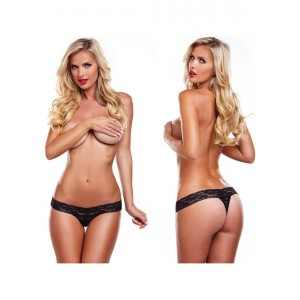 Lacy thong with bullet vibrator - Black