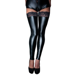 Wetlook Stockings With Lace