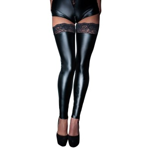 Wetlook Stockings With Lace - Small