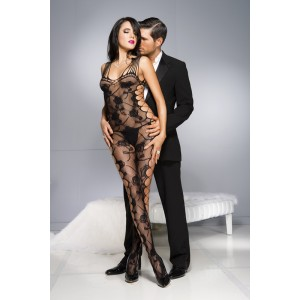 Music Legs Catsuit Stampa a Rose - Nero