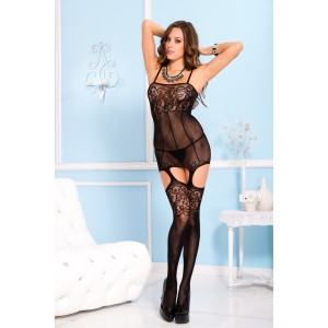 Sheer garter dress with attached stockings