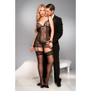 Lace garter dress with sheer side panels BLACK