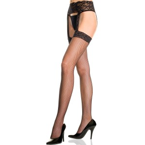 Lace garter set with fishnet stockings