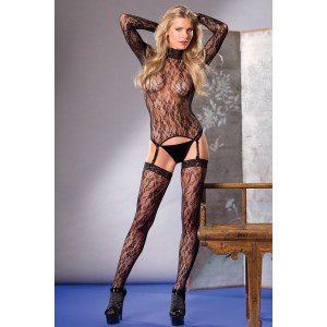 Long Sleeve Top With Garter Straps And Stockings